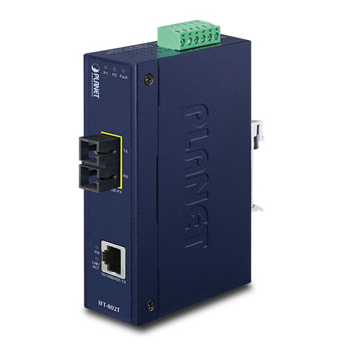 IFT-802T IP30 Industrial 10/100TX to 100FX Media Converter (MM, SC, 2km) (-40 ~ 75C)
