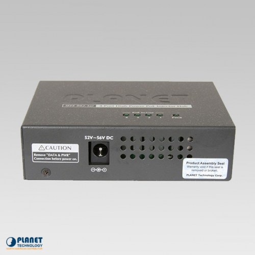 HPOE-460 4-Port High PoE Injector Hub Side 1
