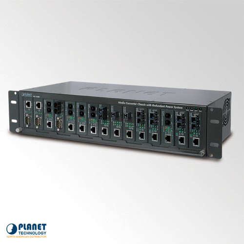 MC-1500R48 15-slot Media Converter Chassis with DC Power