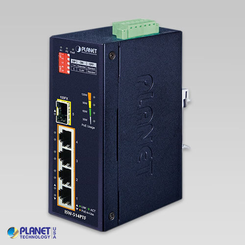 ISW-514PTF IP30 Industrial Ethernet Switch 4-Port 10/100Mbps with PoE + 1-Port 100Base-FX (MM, SC, 2km) (-40 ~ 75C)
