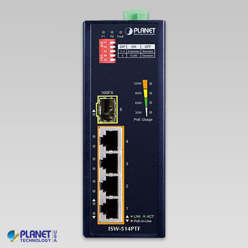 ISW-514PTF Industrial PoE Switch Front