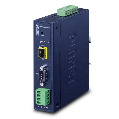 ICS-2105A  IP 30 Industrial Managed Media Converter RS-232/ RS-422/ RS-485 to 100FX (SFP) (-10 ~ 60C)