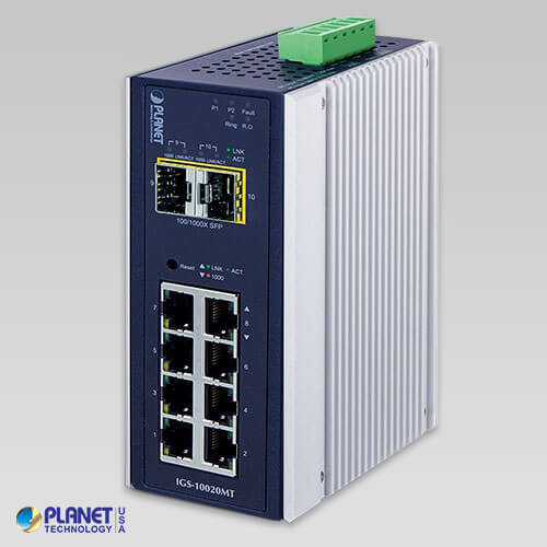 IGS-10020MT  Industrial L2+ 8-Port 10/100/1000T + 2 100/1000X SFP Managed Switch