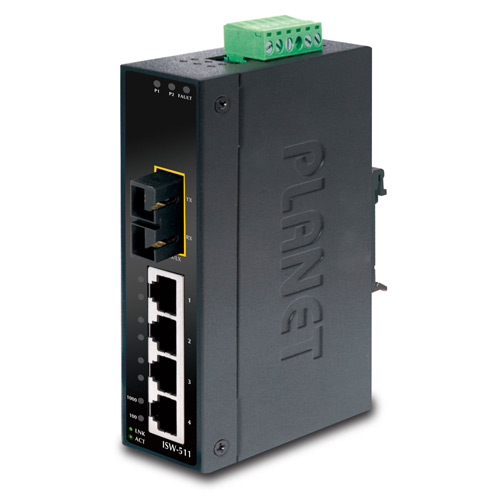 ISW-511 IP30 Industrial Fast Ethernet Switch 4-Port 10/100Base-TX + 1-Port 100Base-FX (MM, SC, 2km) (-10 ~ 60C)
