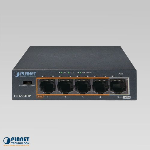 FSD-504HP Desktop PoE Switch Front