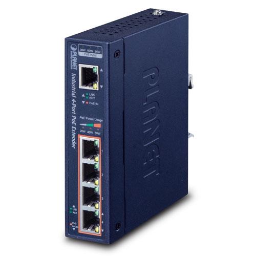 IPOE-E174 Industrial 1-Port 802.3bt PoE++ to 4-Port 802.3af/at Gigabit PoE Extender