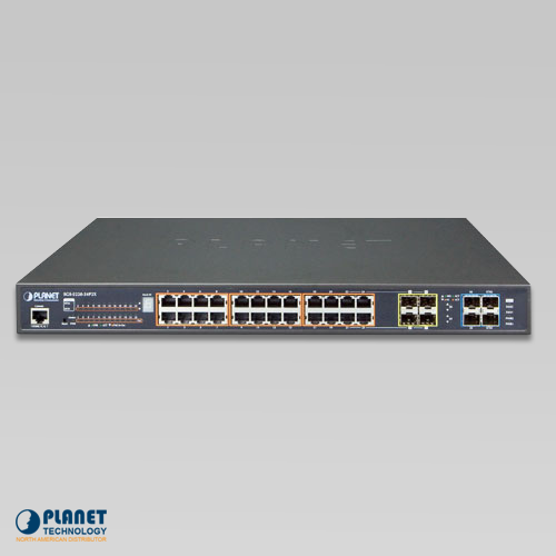 SGS-5220-24P2X Stackable Switch Front