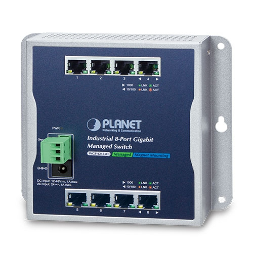 WGS-4215-8T Industrial 8-Port 10/100/1000T Wall-mount Managed Switch (-40~75C)