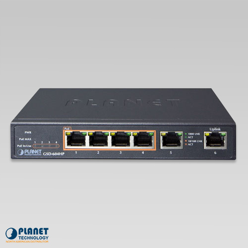 GSD-604HP 4-Port Desktop PoE Switch Front