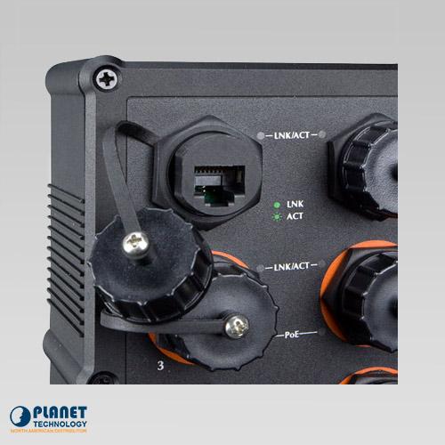 IGS-604HPT-RJ Waterproof Industrial PoE Ethernet Close Up