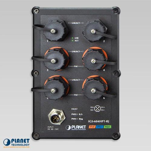 IGS-604HPT-RJ Waterproof Industrial PoE Ethernet Front