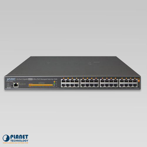 UPOE-1600G 16-Port Ultra PoE Managed Hub Front
