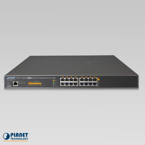 UPOE-800G 8-Port Ultra PoE Managed Hub Front