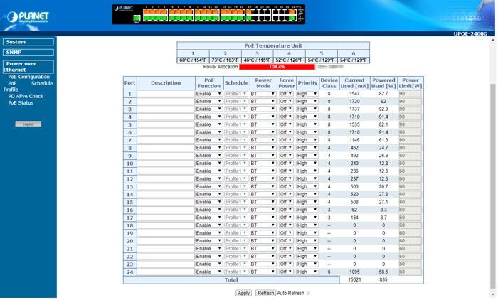 UPOE-2400G Web Management