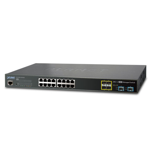 GS-5220-16T4S2X L2+ 16-Port 10/100/1000T + 4-Port 100/1000X SFP + 2-Port 10G SFP+ Managed Ethernet Switch