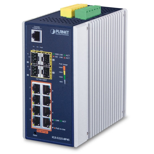 IGS-5225-8P4S Industrial L2+ 8-Port 10/100/1000T 802.3at PoE + 4-Port 100/1000X SFP Managed Ethernet Switch (-40~75C)