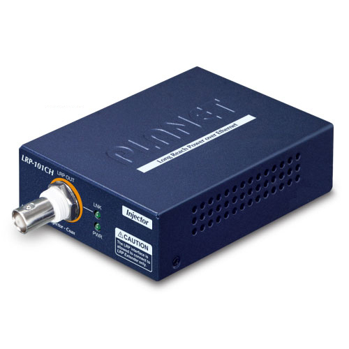 LRP-101CH 1-Port 10/100TX PoE PD + 1-Port Coax Long Reach PoE Injector