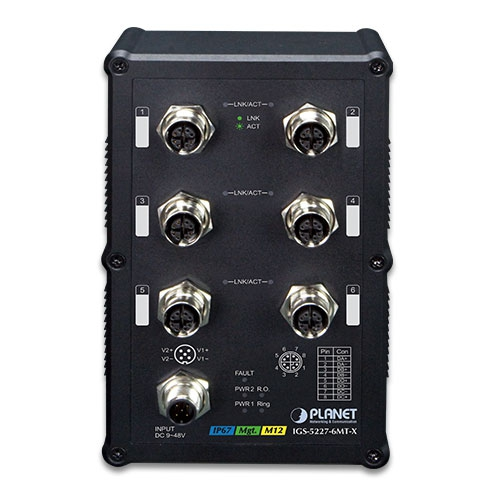 IGS-5227-6MT-X Industrial M12 Switch front