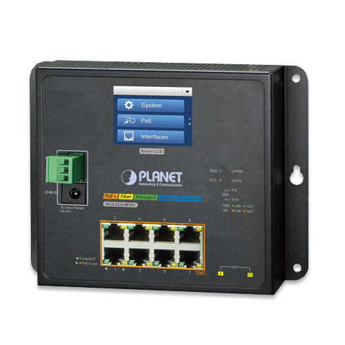 WGS-5225-8P2SV Industrial L2+ 8-Port 10/100/1000T 802.3at PoE + 2-Port 100/1000X SFP Wall-mount Managed Switch with LCD touch screen
