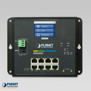 WGS-5225-8P2SV Industrial Wall Mount Switch with Touch Screen Front
