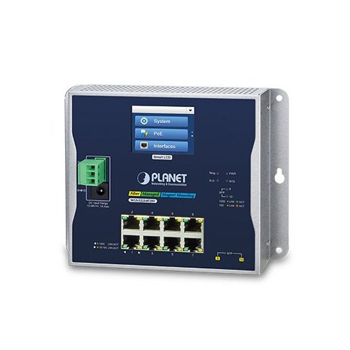 WGS-5225-8T2SV Industrial L2+ 8-Port 10/100/1000T + 2-Port 100/1000X SFP Wall-mount Managed Switch with LCD Touch Screen