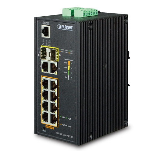 IGS-5225-8P2T2S L2+ Industrial 8-Port 10/100/1000T 802.3at PoE + 2-Port 10/100/1000T + 2-Port 100/1000X SFP Managed Ethernet Switch