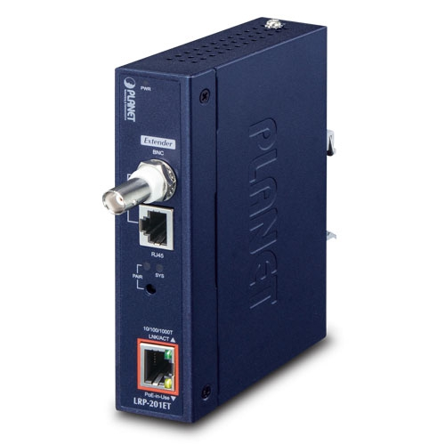LRP-201ET Industrial 1-Port 10/100/1000T Ultra PoE + 1-Port Coax/UTP Long Reach PoE Extender (-20~70°C)