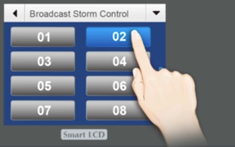 Wall-Mounted Managed Switch with LCD Screen Storm Control Setting