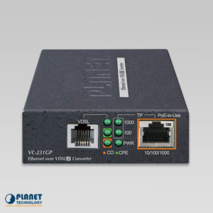 VC-231GP PoE Ethernet to VDSL2 Converter Front