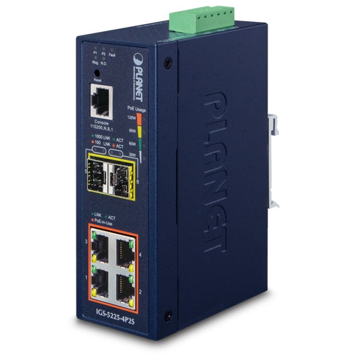 IGS-5225-4P2S L2+ Industrial 4-Port 10/100/1000T 802.3at PoE + 2-Port 100/1000X SFP Managed Ethernet Switch