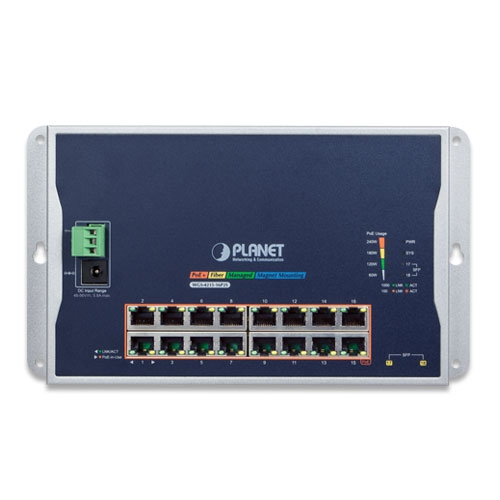 WGS-4215-16P2S Wall PoE Switch Front