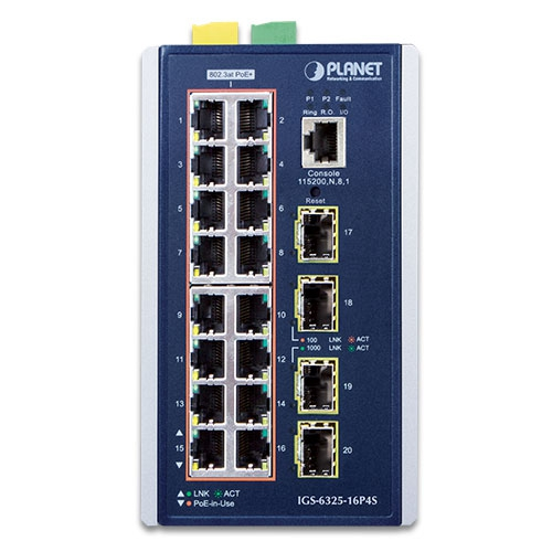 IGS-6325-16P4S Industrial PoE Switch Front