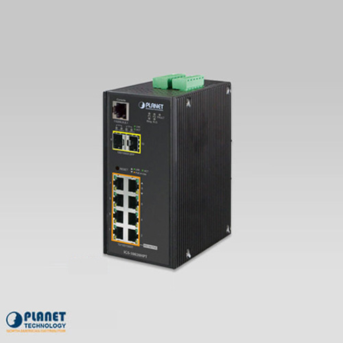 IGS-10020HPT IP30 Industrial SNMP Switch 8-Port 10/100/1000Base-TX 802.3at PoE + 2-Port 100/1000FX (SFP) (-40 ~ 75C)