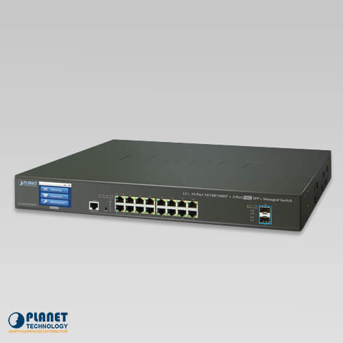 GS-5220-16T2XVR L2+ 16-Port 10/100/1000T + 2-Port 10G SFP+ Managed Ethernet Switch with LCD Touch Screen and Redundant Power
