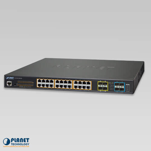 GS-5220-24PL4X L2+ 24-Port 10/100/1000T 802.3at PoE + 4-Port 10G SFP+ Managed Switch