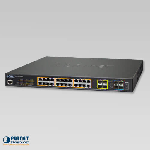 GS-5220-24UP4X L2+ 24-Port 10/100/1000T Ultra PoE + 4-Port 10G SFP+ Managed Switch (400W)