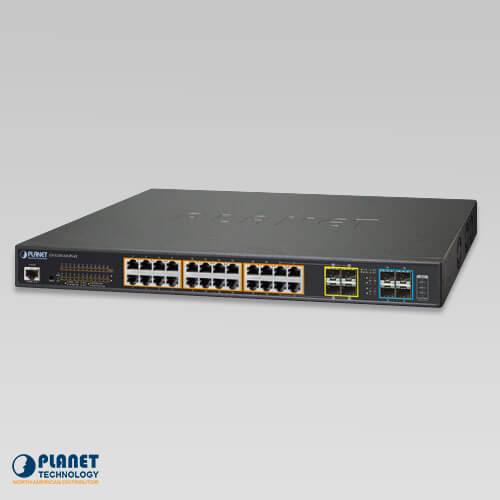 GS-5220-24UPL4X L3 24-Port 10/100/1000T 802.3bt PoE + 4-Port 10G SFP+ Managed Switch (600W)
