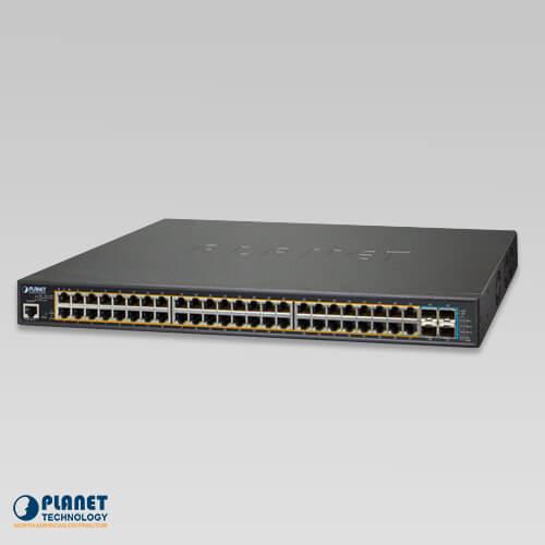 GS-5220-48PL4X L3 48-Port 10/100/1000T 802.3at PoE + 4-Port 10G SFP+ Managed Switch