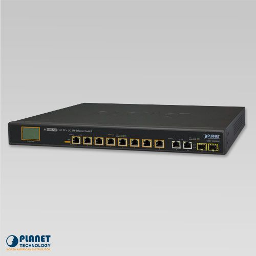 GSW-1222VUP 8-Port 10/100/1000T Ultra PoE + 2-Port 10/100/1000T + 2-Port 1000X SFP Gigabit Ethernet Switch with LCD PoE Monitor / 380W