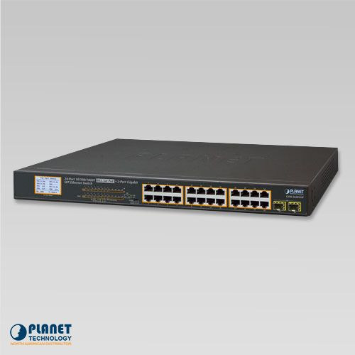 GSW-2620VHP 24-Port 10/100/1000T 802.3at PoE + 2-Port Gigabit SFP Ethernet Switch with LCD PoE Monitor (300W)