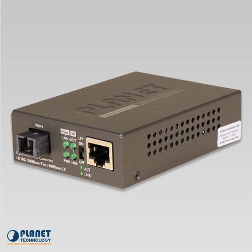 GT-806A60 10/100/1000Base-TX to 1000Base-FX WDM Bi-directional Media Converter (SM, WDM, 1310nm, 60km)