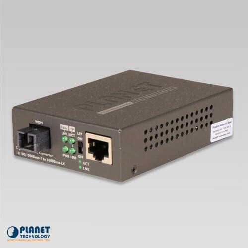 GT-806B60 10/100/1000Base-TX to 1000Base-FX WDM Bi-directional Media Converter (SM, WDM, 1550nm, 60km)