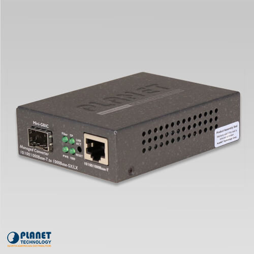 GT-905A Web/SNMP Manageable 10/100/1000Base-T to 1000X (SFP) Gigabit Converter