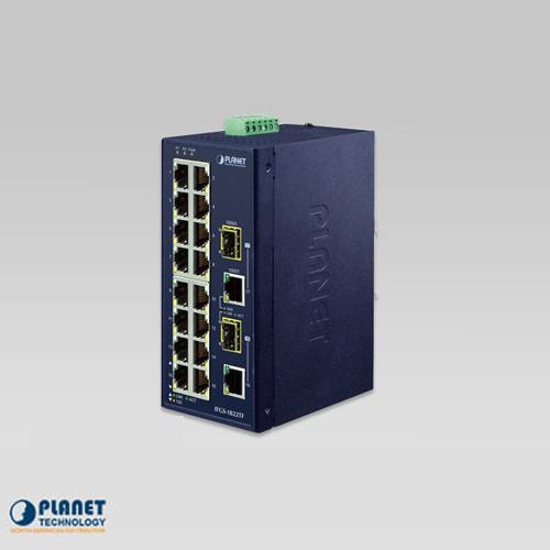 IFGS-1822TF Industrial 16-Port 10/100TX + 2-Port Gigabit TP/SFP Combo Ethernet Switch (-40~75C)
