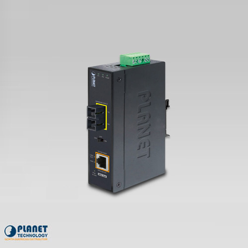 IGTP-802TS IP30 Industrial 1000BASE-LX to 10/100/1000BASE-T 802.3at PoE Media Converter (SC,SM) -10km