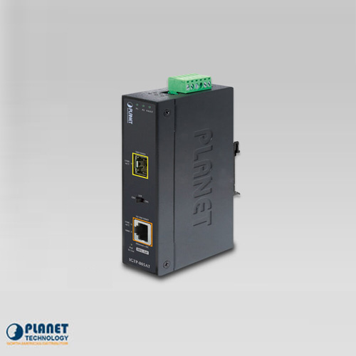 IGTP-805AT IP30 Industrial 10/100/1000Base-T to 1000FX (SFP) Media Converter with 802.3at POE+ (-40 ~ 75 C)