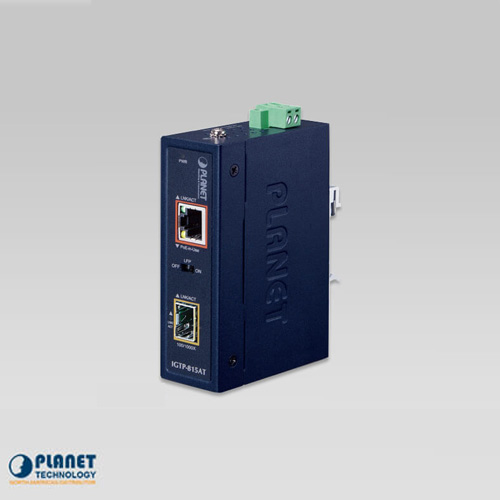 IGTP-815AT Industrial 100/1000BASE-X to 10/100/1000BASE-T 802.at PoE+ Media Converter