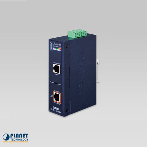 IPOE-171-95W Industrial Single-Port 10/100/1000Mbps 802.3bt PoE++ Injector (95W, -40~75C, 12~48V DC)