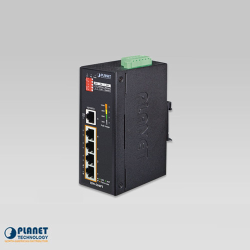 ISW-504PT Industrial 5-Port 10/100TX Ethernet Switch with 4-Port 802.3at PoE+