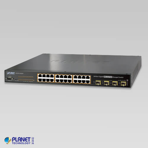 WGSW-24040HP4 Managed Switch 24-Port 10/100/1000Mbps 802.3at PoE+ with 4 shared SFP (440Watts)